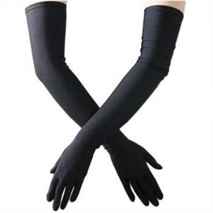 stretch black satin evening gloves