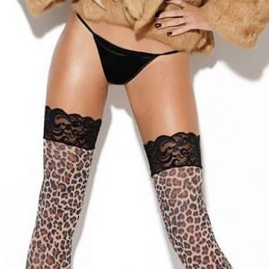Lace top leopard print stockings