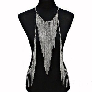 silver tassle body chain