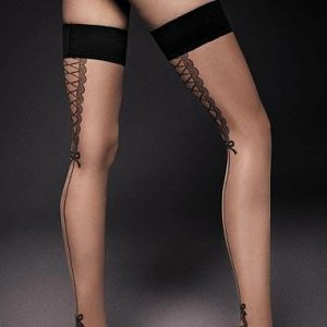 contrast seamed holdup stockings in black & nude