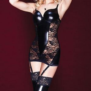 Black wetlook Chemise with Suspenders