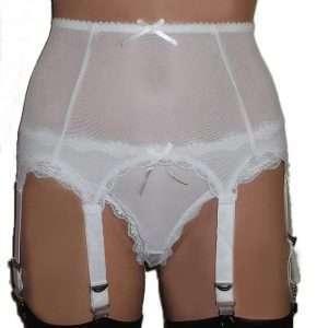 white 8 strap powermesh suspender belt