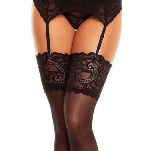 Lace top Plus Size Stockings in Black