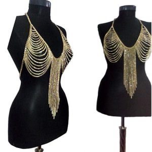 body harness with gold tassel chains