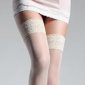 ivory polka dot holdup stockings