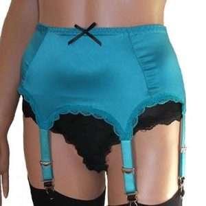 turquoise satin 6 strap suspender belt