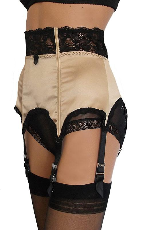 Gold and Black Satin and lace suspender belt