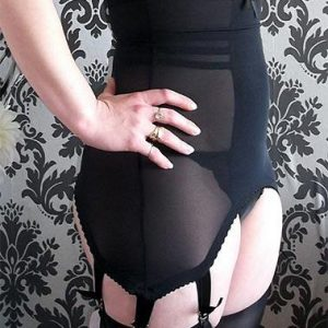 black powermesh longline girdle