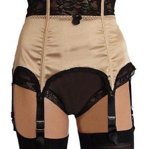 6 strap suspender belt in satin and lace