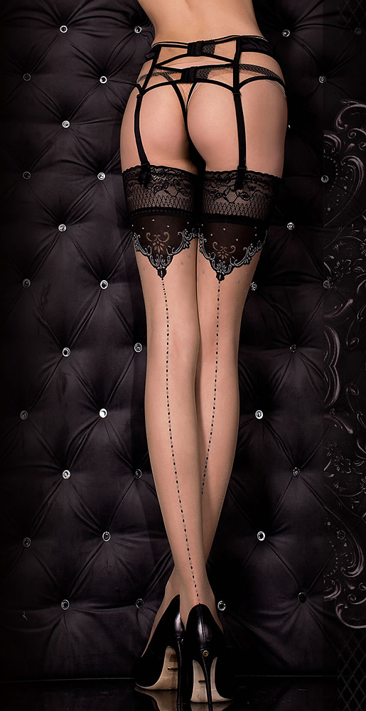 Nude and Black seamed lace top stockings, ballerina 317