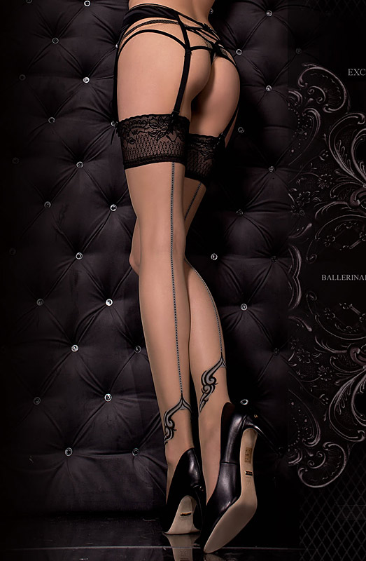 luxury hold-up stockings with contrast seam