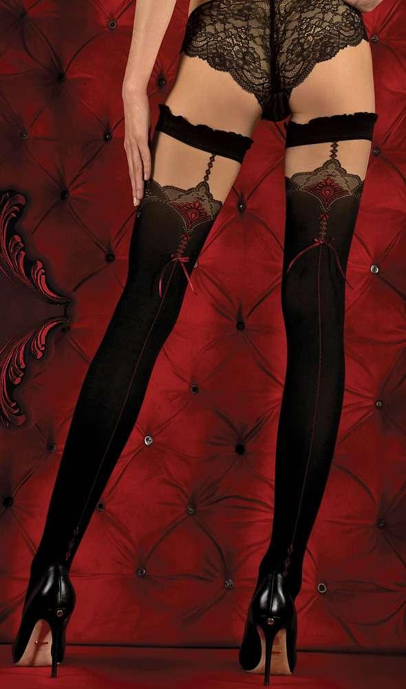 Ballerina black and red seamed holdups