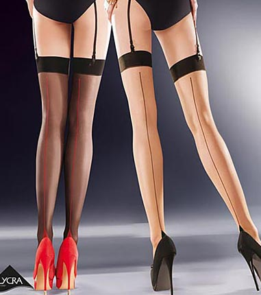 contrast seam stockings in nude or black
