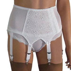 Lace Front 6 strap suspender belt with side fastening