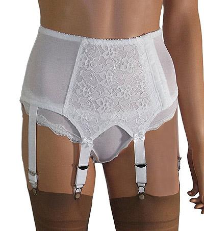 6 Strap Lace Front Suspender Belt with Side Fastening