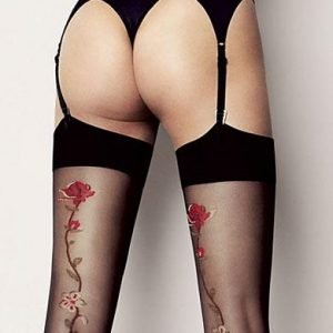 Madlene black stockings with floral seams