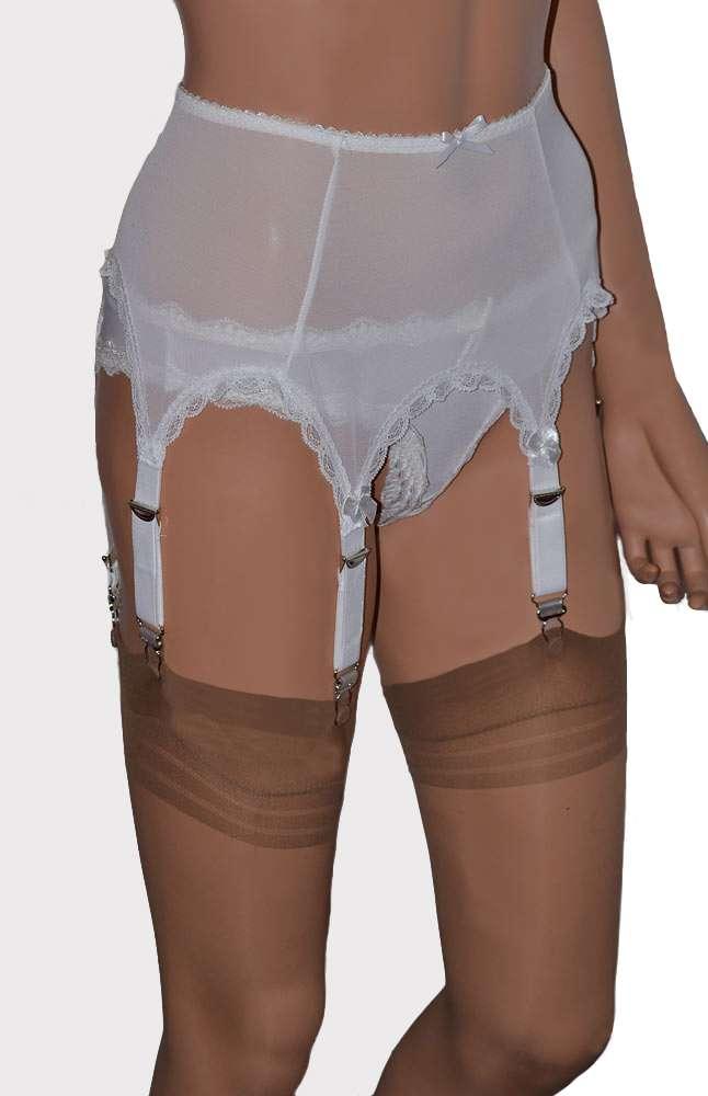6 strap power mesh suspender belt in white