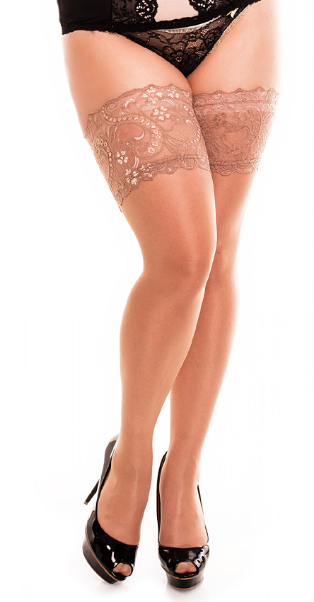 nude / natural holdup stockings in plus sizes