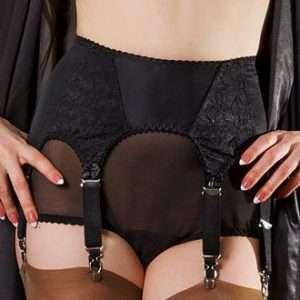 Laura, black satin 6 strap suspender belt