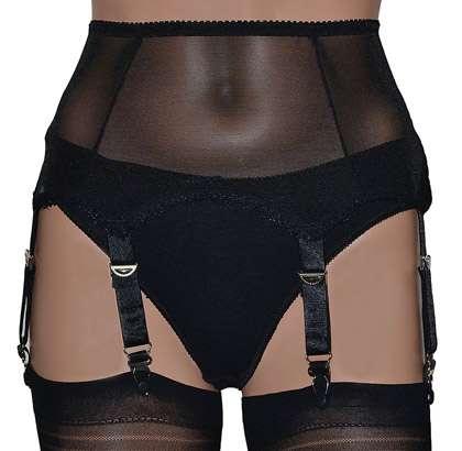 37b6ef6cc Black Power Mesh 6 Strap Suspender Belt