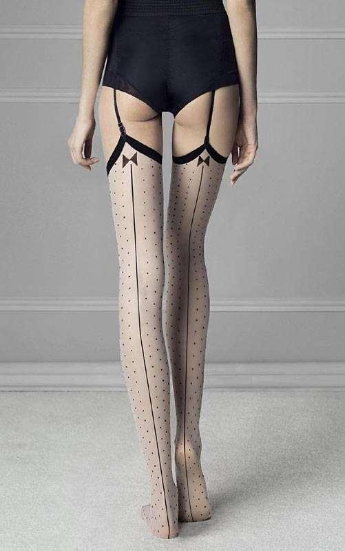 polka dot contrast seam stockings, fiore gossip