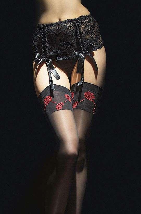 fiore sabado stockings with red rose motif