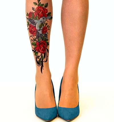 Birds & roses tattoo tights