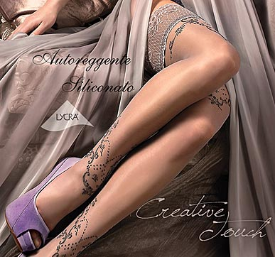 smoke grey hold-up stockings, Ballerina 235