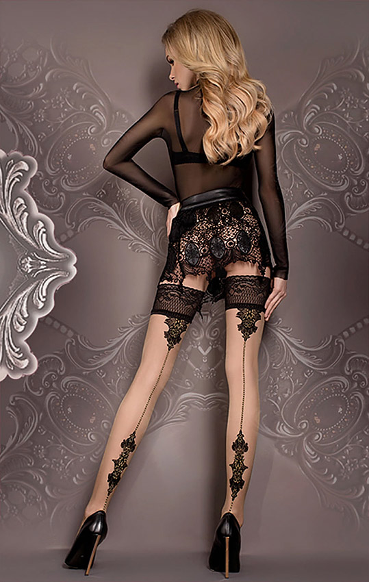 black and nude contrast seam hold-up stockings ballerina