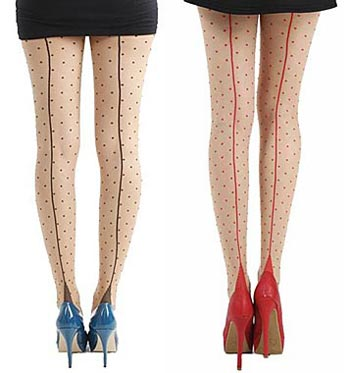 f37487284b9 Retro tights with Seams and Polka Dots from Pamela Mann