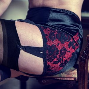 black and red 6 strap girdle