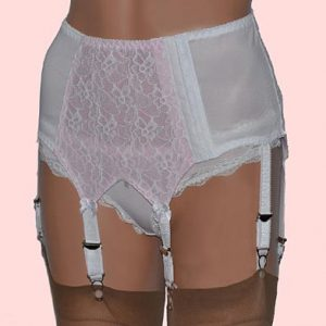 white retro style 6 strap suspender belt with lace panels