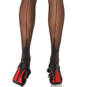 leg avenue 9213 black point heel seamed stockings
