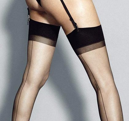 6 denier black seamed stockings