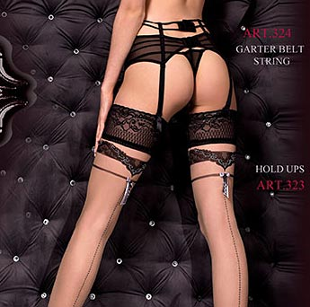Ballerina 323 Contrast Seam Stockings in Nude & Black