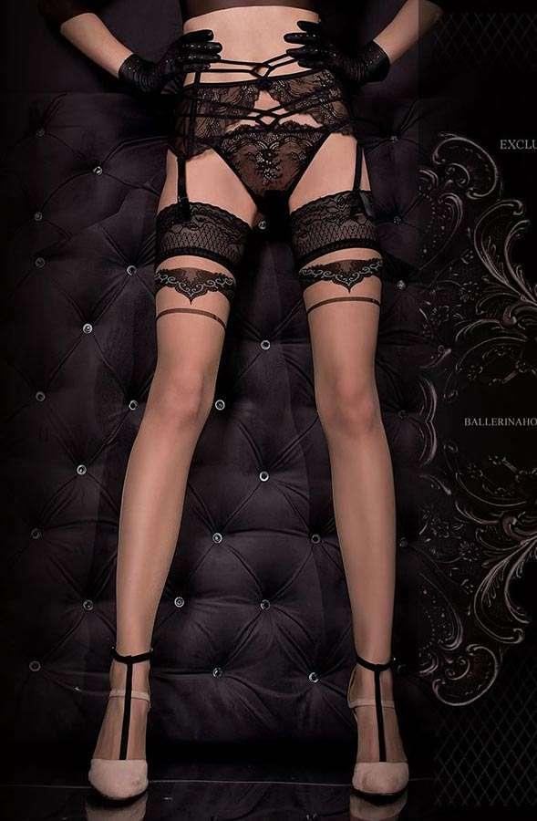 luxury contrast seam hold-up stockings from Ballerina Hosiery
