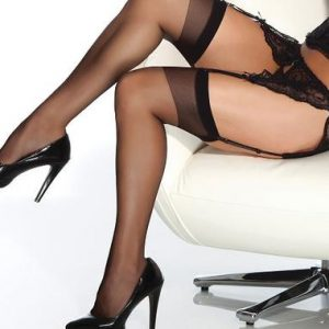 Coquette 1706 sheer black plus size stockings