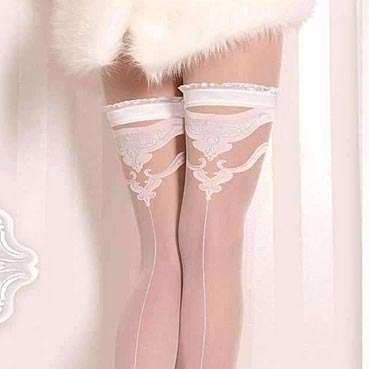 white seamed bridal stockings ballerina 375