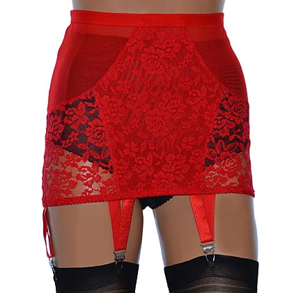 red open bottom girdle with suspenders