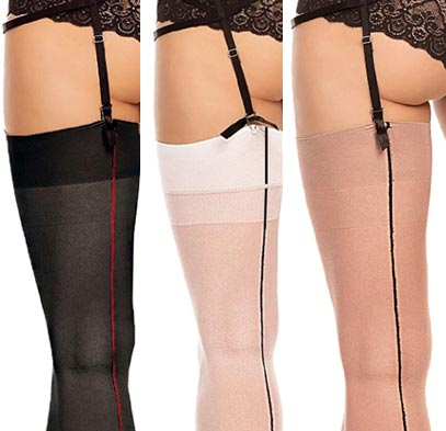 plus size contrast seam stockings in 20 denier