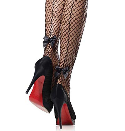 black fishnet hold-up stockings with seams