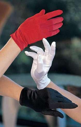 short satin evening gloves