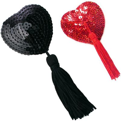 tassel nipple covers in black or red