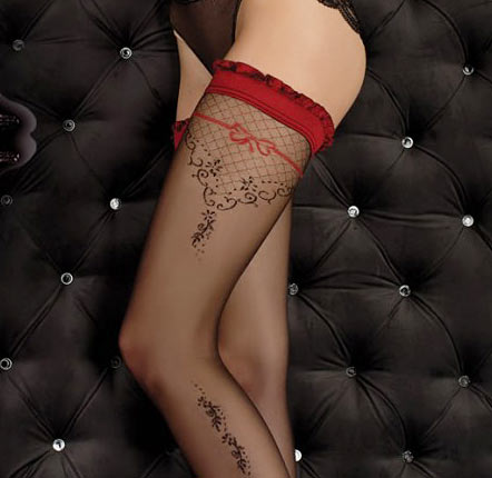 Ballerina 349 luxury holdup stockings in black and red