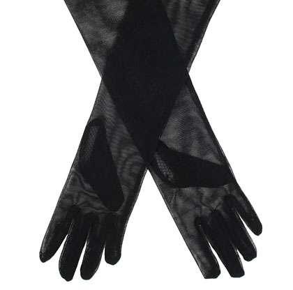 mesh opera gloves in black
