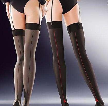 50 denier contrast seam stockings in grey or black