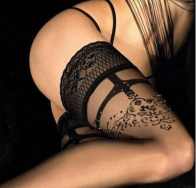 Lace top black holdups with gold lurex ballerina 451