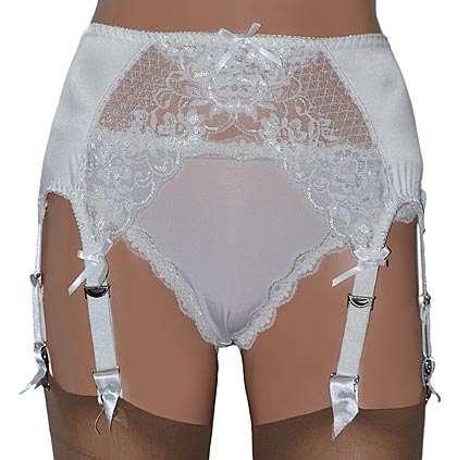 white satin suspender belt with 8 straps