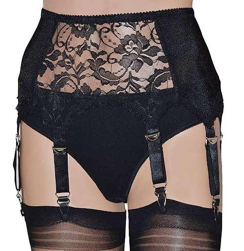 Black Lace Front 6 Strap Suspender Belt
