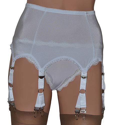 white suspender belt with 6 strap and 12 clips